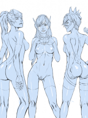D.Va, Mercy, Symmetra, Tracer and Widowmaker