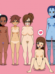D.Va, Mei, Mercy, Pharah, Sombra, Symmetra, Tracer, Widowmaker and Zarya