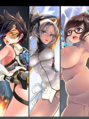 D.Va, Genji, Mei, Mercy and Tracer