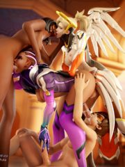Mercy, Pharah, Sombra and Tracer