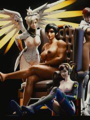 D.Va, Mercy, Pharah and Sombra