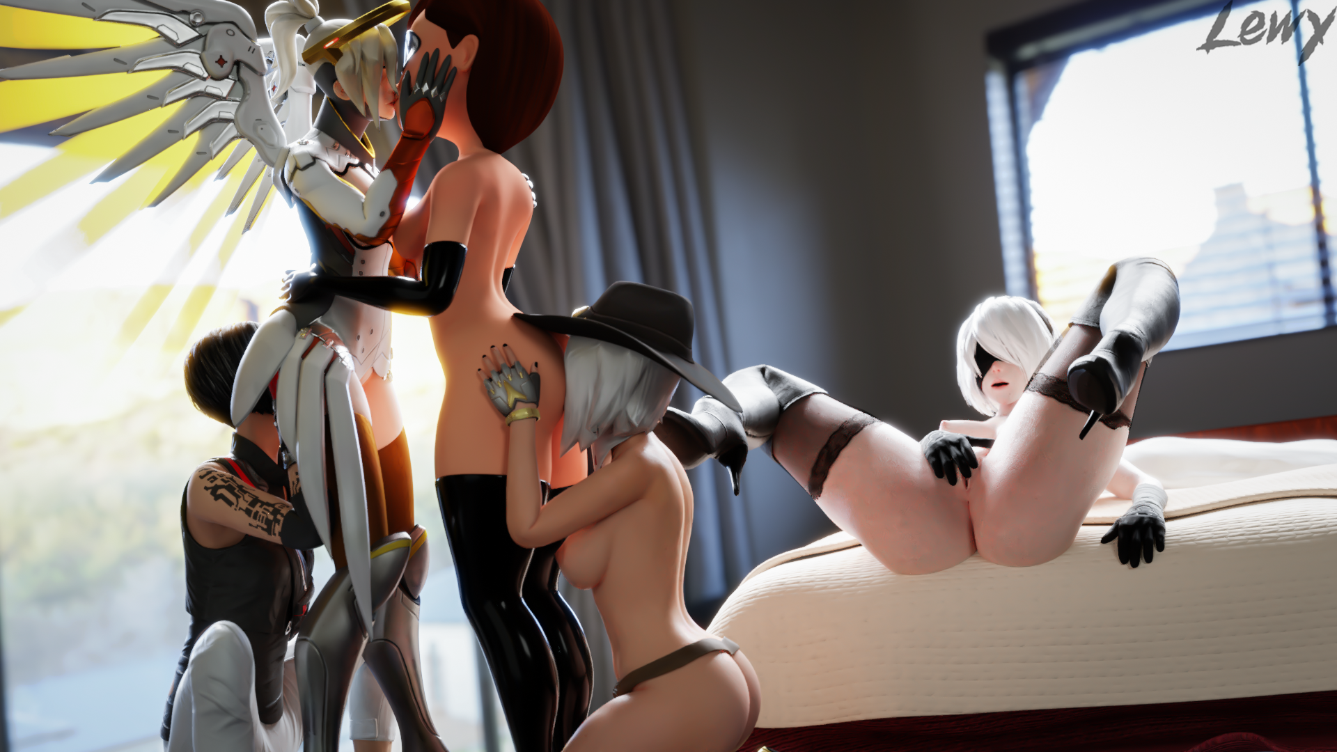 3378885 - Elizabeth_Caledonia_Ashe Faith_Connors Helen_Parr Lewy Mercy Mirror's_Edge Nier Nier_Automata Overlook The_Incredibles YoRHa_No.2_Type_B blender crossover